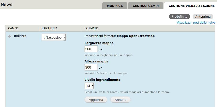 Configurazione Campo visualizzato come OpenStreetMap